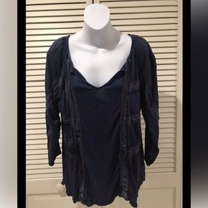 Lucky Brand Long Sleeve Lace V-Neck Blouse Top